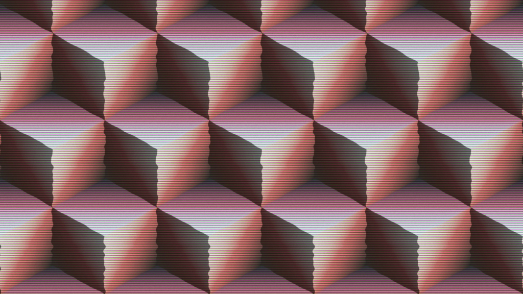 Distorted cubes to represent building blocks of video